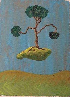 "'Blue,Rock, Tree'* 6""x8"""